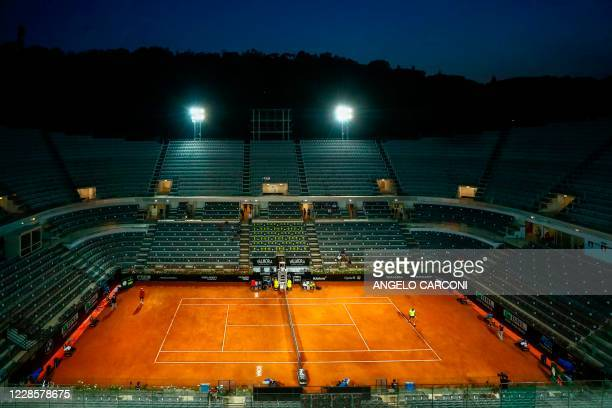 General view shows the central court during the round 3 match between Serbia's Dusan Lajovic and Spain's Rafael Nadal on day five of the Men's...