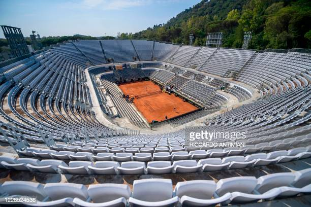 General view shows the central court's empty tribunes during a match on day two of the Italian Open at Foro Italico on September 15, 2020 in Rome,...