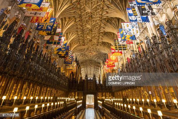 A general view shows the choir in St George's Chapel at Windsor Castle west of London on February 11 2018 where Britain's Prince Harry and US actress...