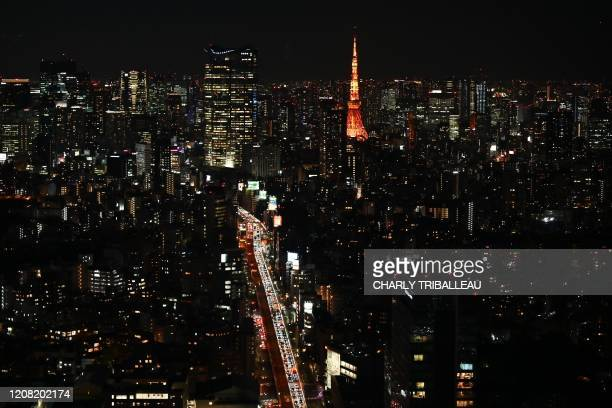 A general view shows the city skyline in Tokyo on March 25 2020