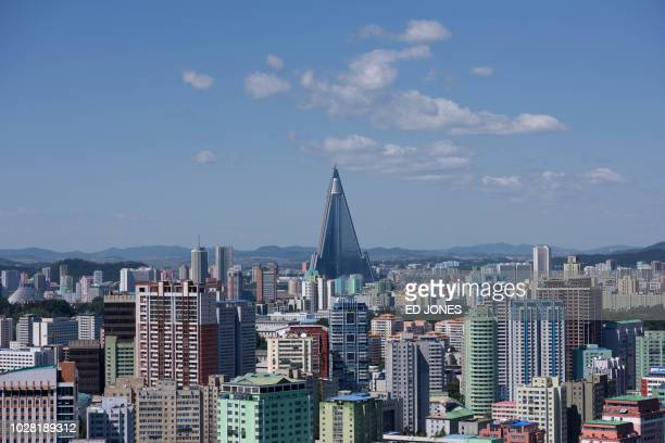 A general view shows the city skyline of Pyongyang on September 7 2018 North Korea is preparing to mark the 70th anniversary of its founding on...