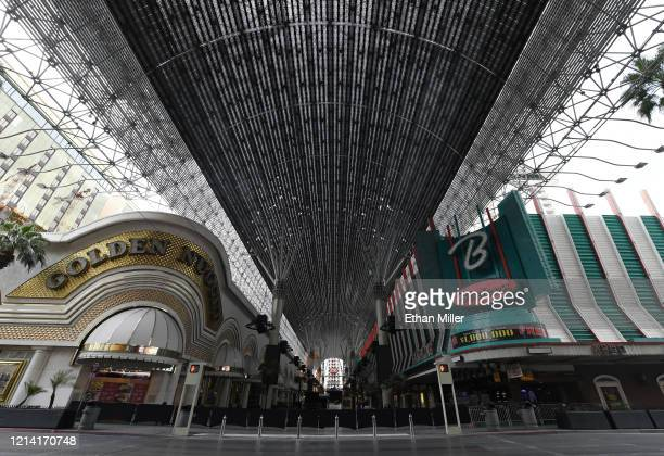 General view shows the closed Golden Nugget Hotel & Casino and Binion's Gambling Hall & Hotel at the Fremont Street Experience and its Viva Vision...