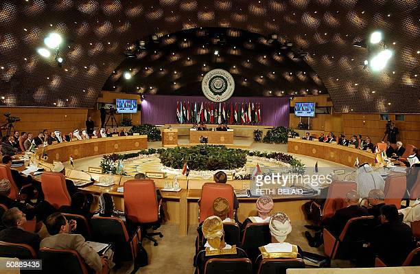 A general view shows the closing session of the 16th Arab League Summit in Tunis 23 May 2004 Arab leaders ending their summit adopted language...