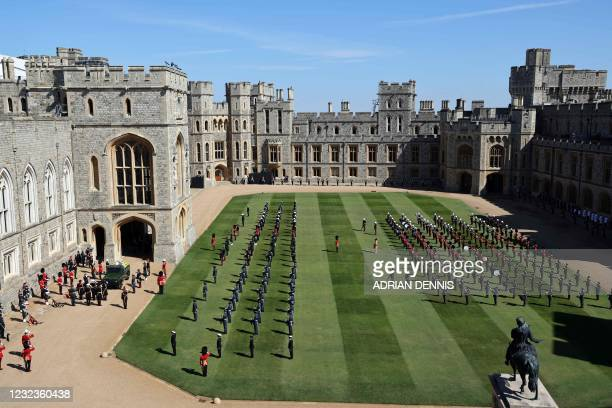 General view shows the coffin of Britain's Prince Philip, Duke of Edinburgh laid onto a modified Land Rover Defender in the quadrangle ahead of the...