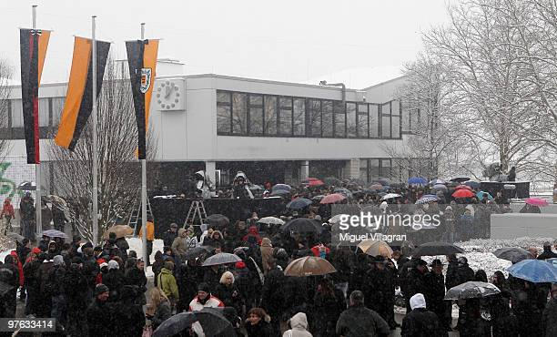 General view shows the commemoration ceremony in front of the Albertville School on March 11 2010 in Winnenden Germany Tim Kretschmer opened fire on...
