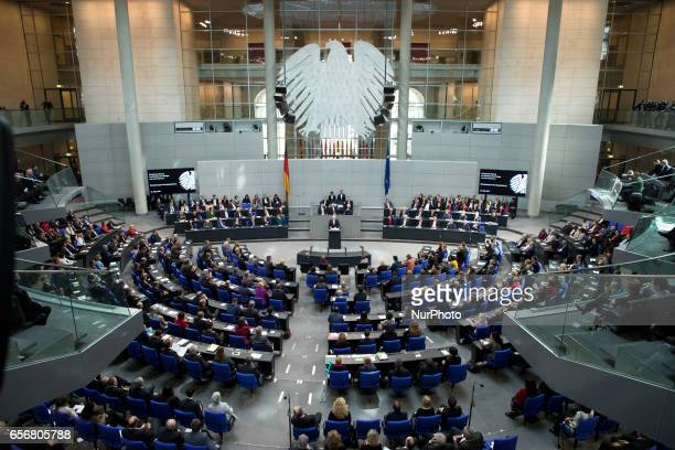 A general view shows the common session of the Bundestag and the Bundesrat as new German President FrankWalter Steinmeier holds a speech after...