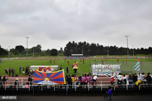 A general view shows the Confederation of Independent Football Association 's 2018 World Football Cup match between Abkhazia and Tibet at Queen...