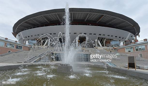 A general view shows the construction site of the new football stadium in St Petersburg on July 20 2015 St Petersburg will host matches during the...