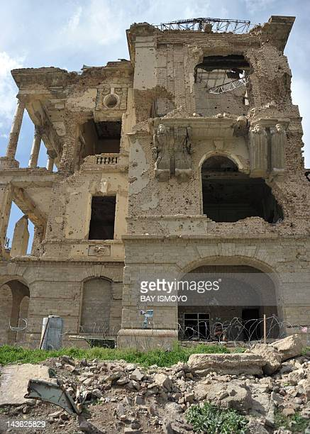 A general view shows the damaged remains of the Darul Aman palace in Kabul on April 28 2012 Afghanistan which achieved global notoriety for cultural...