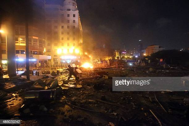 A general view shows the debris caused by clashes between Lebanese protesters and riot police following a demonstration organized by 'You Stink'...