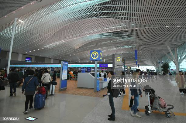 A general view shows the departure lobby at Terminal 2 of Incheon International Airport west of Seoul on January 18 2018 Incheon airport South...