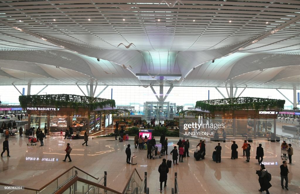 A general view shows the departure lobby at Terminal 2 of Incheon