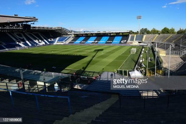 General view shows the empty Atleti Azzurri d'Italia stadium prior to the Italian Serie A football match Atalanta vs Sassuolo, played on June 21,...