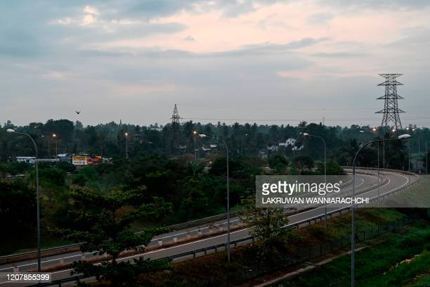A general view shows the empty Southern Expressway after the authorities announced a weekend curfew in the country as a preventive measure against...