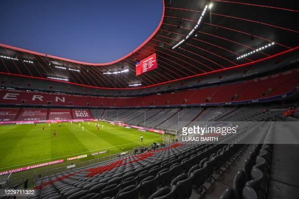 General view shows the empty stadium during the German first division Bundesliga football match Bayern Munich vs Werder Bremen in Munich, on November...