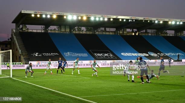 General view shows the empty stadium during the Italian Serie A football match Atalanta vs Sassuolo, played on June 21, 2020 at the Atleti Azzurri...