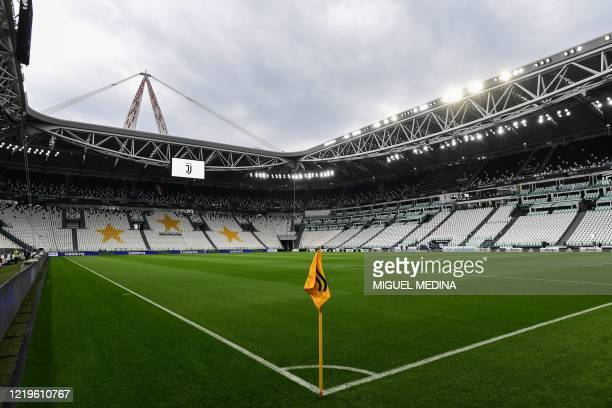 General view shows the empty stadium prior to the Italian Cup semi-final second leg football match Juventus vs AC Milan on June 12, 2020 at the...