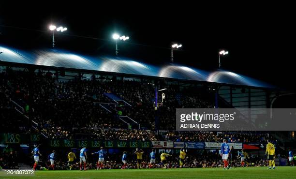A general view shows the English FA Cup fifth round football match between Portsmouth and Arsenal at Fratton Park stadium in Portsmouth southern...