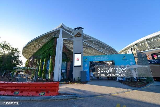 A general view shows the entrance to the Memorial Drive Tennis Club centre court on day one of the ATP Cup Adelaide International tennis tournament...