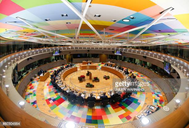 A general view shows the European Council meeting in Brussels in Brussels on December 14 2017 European leaders will discuss the migration crisis and...