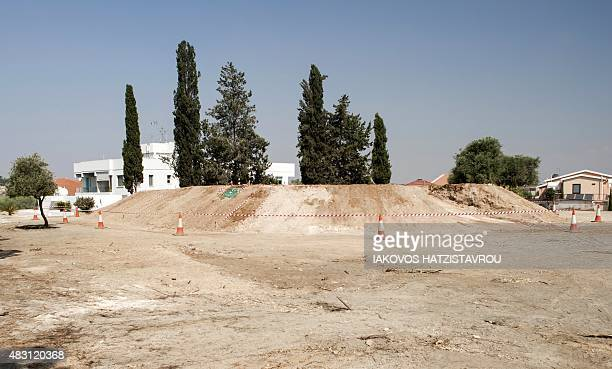 General view shows the excavation site of a Noratlas plane that was shot down by friendly fire during the Turkish invasion of Cyprus in 1974 at the...