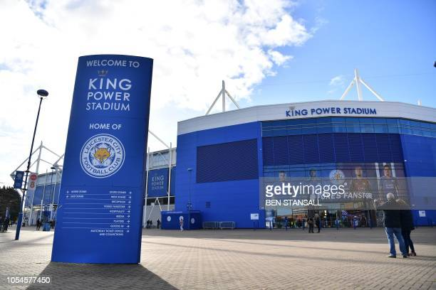 A general view shows the exterior of Leicester City Football Club's King Power Stadium in Leicester eastern England on October 28 2018 after a...