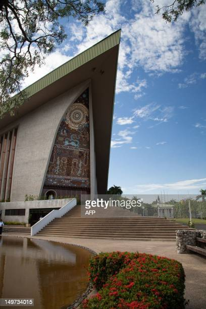 A general view shows the exterior of the parliament building in Port Moresby on August 3 2012 Peter O'Neill was reelected the next leader of Papua...
