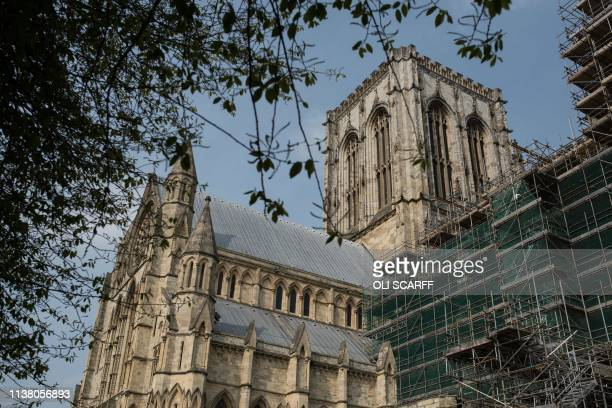 A general view shows the exterior of the South Transept of York Minster which was reconstructed after a major fire in 1984 in York northern England...