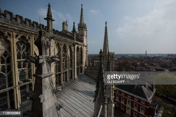 General view shows the exterior of the South Transept of York Minster in York, northern England, on April 18, 2019. - The stories of York Minster and...