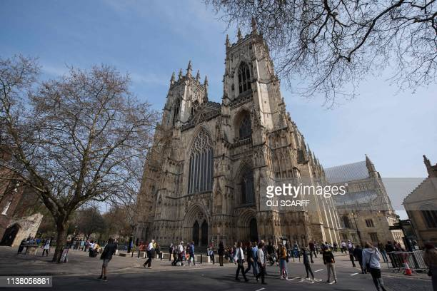 A general view shows the exterior of the West End of York Minster in York northern England on April 18 2019 The stories of York Minster and NotreDame...