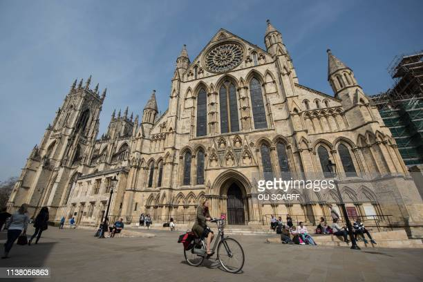 A general view shows the exterior of York Minster in York northern England on April 18 2019 The stories of York Minster and NotreDame have faithfully...