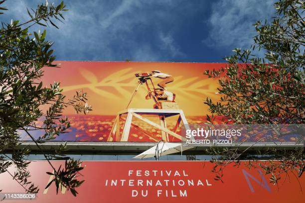 General view shows the Festival's official poster on May 13, 2019 on the eve of the opening of the 72nd Cannes Film Festival in Cannes, southeastern...
