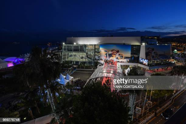 A general view shows the festival's palace as guest arrive on May 16 2018 for the screening of the film Dogman at the 71st edition of the Cannes Film...