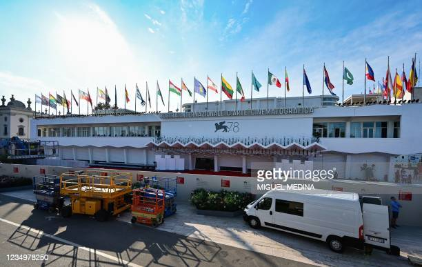 General view shows the festival's palace during preparations on the eve of the opening of the 78th Venice Film Festival, on August 31, 2021 at Venice...