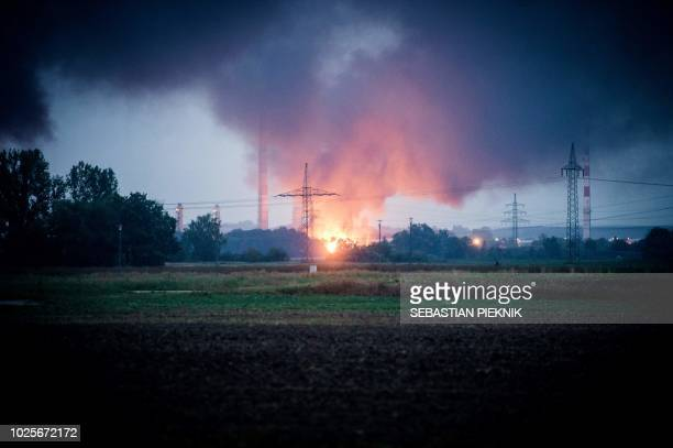 TOPSHOT General view shows the fire on the site of a refinery of Bayernoil company where an explosion took place on early September 01 2018 in...