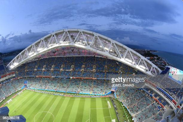 A general view shows the Fisht Stadium in Sochi during the Russia 2018 World Cup Group F football match between Germany and Sweden on June 23 2018 /...
