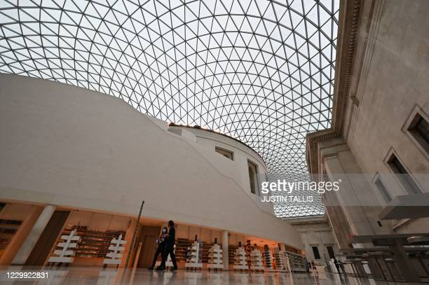 General view shows the glass roof over the Great Court after the British Museum reopened in London on December 3, 2020 as England emerges from a...