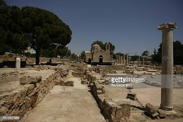 S VISIT TO CYPRUS A general view shows the grounds of Agia Kyriaki Chrysopolitissa known as the 'Church by St Paul's Pillar' in the southwestern town...