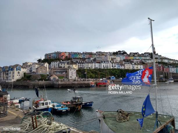A general view shows the harbour in Brixham southern England on October 11 2018 Tensions are already high between the French and British fishing...