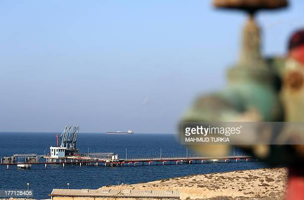 A general view shows the Hariqa oil port and loading installation on August 20 2013 in Tobruk Libya Libya's navy has prevented a tanker from...