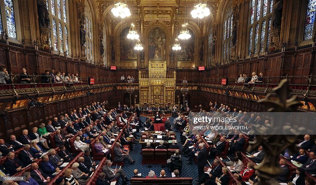 A general view shows the House of Lords chamber in session at the Houses of Parliament in London on September 5, 2016 during which Norman Fowler, the new Lord Speaker, speaks. The House of Lords is the upper house of the UK parliament. / AFP / POOL / Kirsty Wigglesworth