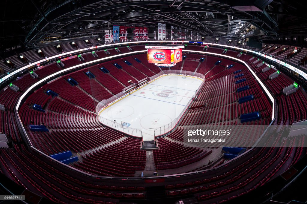 A general view shows the ice and tribunes of the Bell Centre prior to the match between the Montreal Canadiens and the Nashville Predators during the NHL game at the Bell Centre on February 10, 2018 in Montreal, Quebec, Canada.