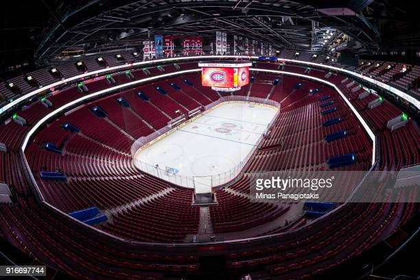A general view shows the ice and tribunes of the Bell Centre prior to the match between the Montreal Canadiens and the Nashville Predators during the...