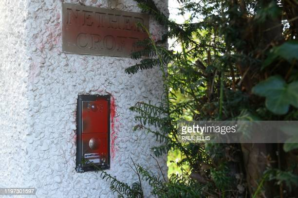 A general view shows the intercom unit with red spray paint defacing it at the home of Manchester United executive vicechairman Ed Woodward in the...