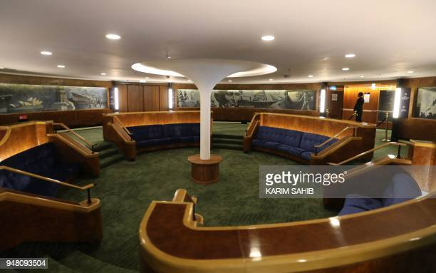 A general view shows the interior of part of The Queen Elizabeth II luxury cruise liner also known as the QE2 docked at Port Rashid in Dubai where it...