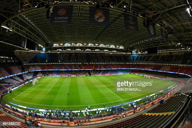 A general view shows the interior of The Principality Stadium in Cardiff on June 2 on the eve of the UEFA Champions League final football match...