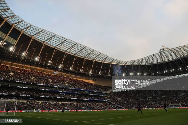 A general view shows the interior of the stadium during the Legends football match between Tottenham Hotspur Legends and Inter Forever the second and...