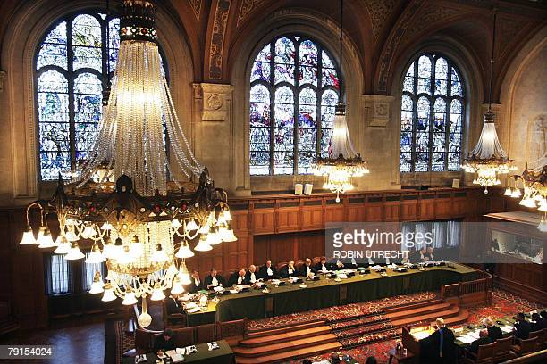 General view shows the International Court of Justice in The Hague 22 January 2008 during the second day of the hearing in the trial of Djibouti...