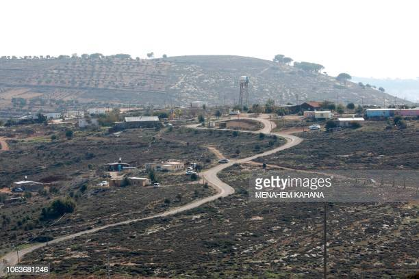 A general view shows the Israeli Adei Ad outpost north of the Palestinian village of alMughayyir near the Jewish settlement of Shilo in the occupied...