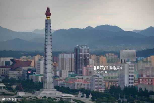A general view shows the Juche tower and city skyline in Pyongyang on June 11 2018